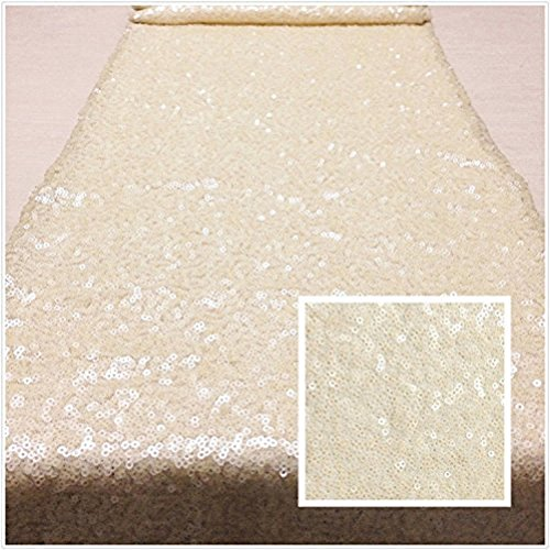 TRLYC 12 by 108-Inch Ivory Sequin Table Runner For -