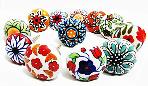 Artncraft 12 Pieces Set Dotted Ceramic Cabinet Colorful Knobs Furniture Handle Drawer Pulls (Design 2) (Ceramic Kitchen Cabinet Knobs)