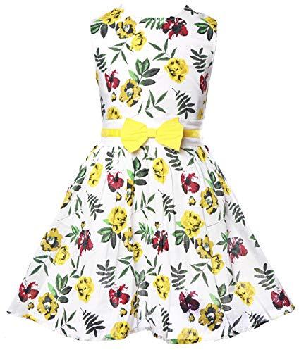 Little Girls Cotton Dress Yellow Rose Dresses Summer Swing Birthday Dresses for Baby Girls 2 3 T