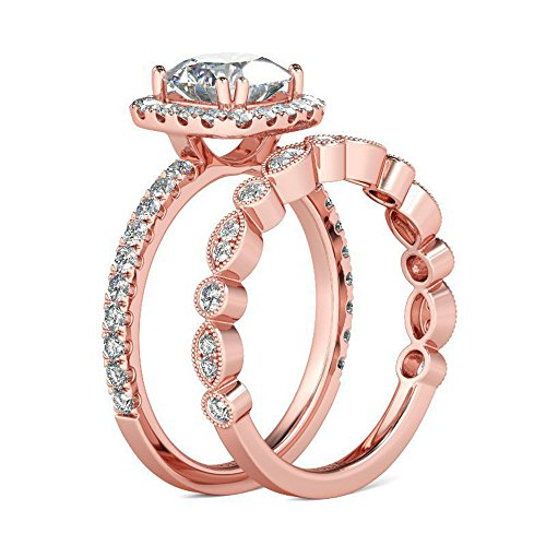 Nadition Exquisite Ring,2-in-1 Fashion Lady Zirconia Ring Creative Set Ring Accessories Engagement Ring ()