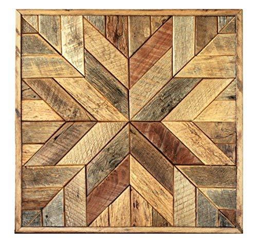 Reclaimed wood star quilt block wall art - 36 inch