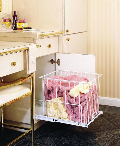 Rev-A-Shelf Pullout Wire Hamper, White