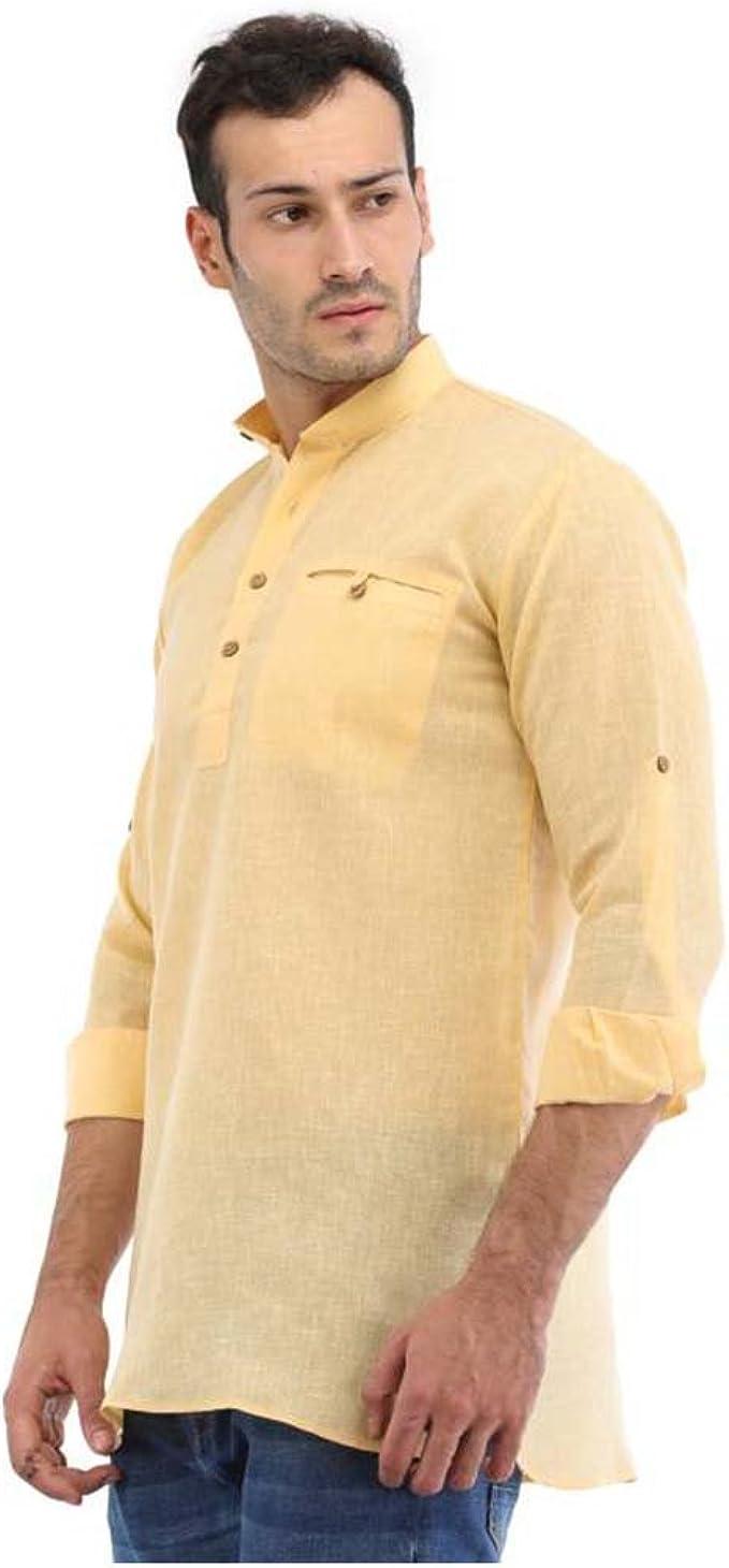 Indian Handicrfats Export Mens White Solid Full Sleeve Kurta
