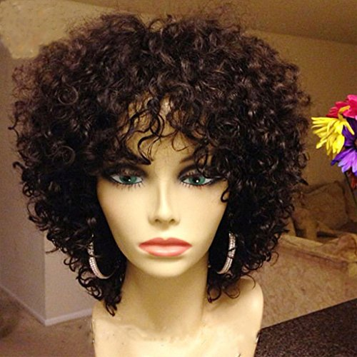 Price comparison product image Short Afro Curly Wigs for Black Women Human Hair No Lace Machine Made Full Wig Indian Virgin Hair Wigs 10 Inch
