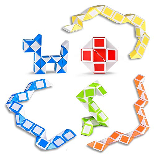 Ganowo Magic Snake Cube Mini 6 Pack-24 Blocks Twist Puzzle Collection Brain Teaser Toy Snake Ruler Fidget Toys Sets for Kids Game Geometric