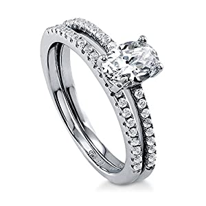 BERRICLE Rhodium Plated Sterling Silver Cubic Zirconia CZ Solitaire Engagement Ring Set Size 8