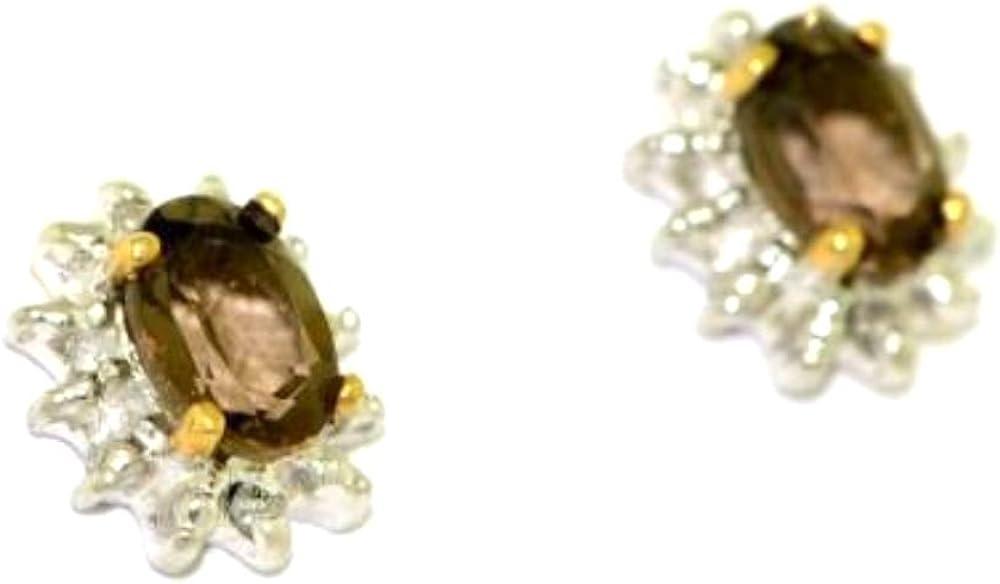 Junio Birthstone Pendientes Cuarzo Ahumado En 14K oro amarillo o 14K oro blanco