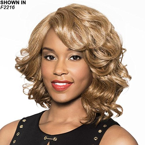 - Houston Wig Color FS4/30 - Foxy Lady Wigs Mid-Length Wavy Bob Lace Front African American Womens Lightweight Average Cap