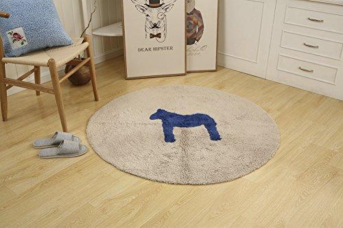 (ChezMax Non Slip Round Doormat Cotton Front Door Mat Decorative Cute Entrance Floor Rug Indoor Outdoor Bedroom Carpet Sofa Living Bathroom Kitchen Horse Sapphire Diameter 47.3