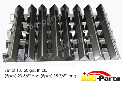 "Hongso FB7538 Stainless Steel Flavorizer Bars, Set of 13 (5 pcs 23-3/8"" long , 8 pcs 15-7/8"" long, 20 GA.), aftermarket replacements"