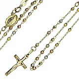 2.5mm 14K Tri-Color Gold Our Lady Guadalupe Crucifix Rosary Necklaces