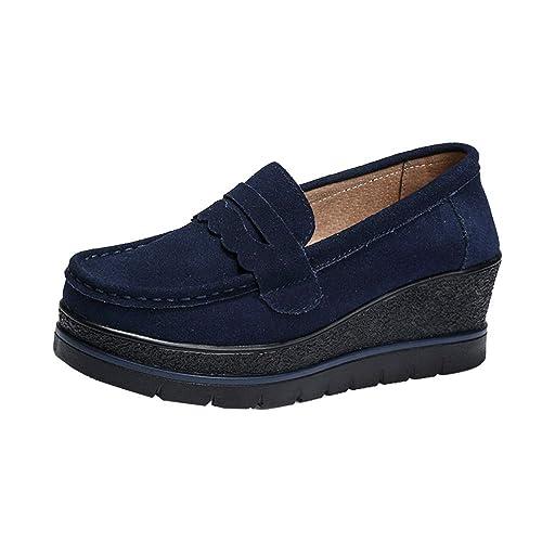 Mocasines de Plataforma para Mujer Zapatos de Cuero con cuña Zapatos de Primavera y otoño Resbalón Casual Femenino en Calzado Plano Negro: Amazon.es: ...