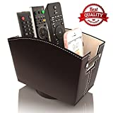 remote control caddy for chair - Remote Control Holder Caddy Bedside Organizer | Nightstand Storage Desk Accessories | Rotating Base Faux Leather Multiple Compartments by Kyle Matthews Designs