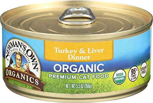 Newman's Own Organics Turkey & Liver Dinner For Cats, 5.5-Oz. (Pack Of 24) (Newman Own Cat Food)