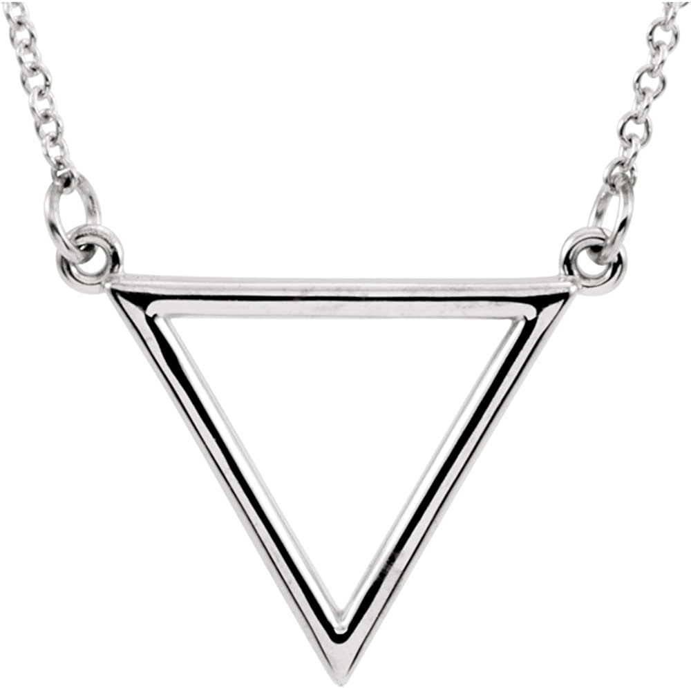 14K White Gold 15.4x19mm Triangle 16 Necklace