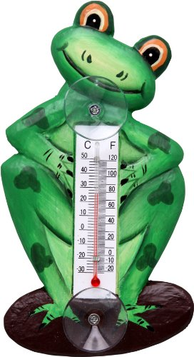 Songbird Essentials SE2172110 Frog on a Lily Pad Small Window Thermometer (Set of - Thermometer Frog