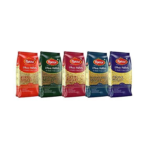 Manna Millets - Natural Grains Combo Pack of 5 | Foxtail 500g, Kodo 500g, Proso 500g, Little 500g, Barnyard 500g