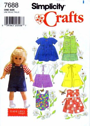 Craft Doll Clothes - Simplicity Crafts Pattern 7688 Clothes for 18-Inch Doll