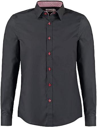 Pier One Camisa de Hombre de Corte Slim Fit en Blanco, Azul Marino o Negro - Camisa de Manga Larga Sin Necesidad de Planchar - Camisas Elegantes con ...