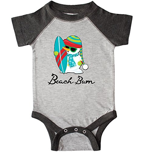 inktastic Beach Bum Surfing Snowman Infant Creeper Newborn Heather and Smoke (Surfing Snowman)