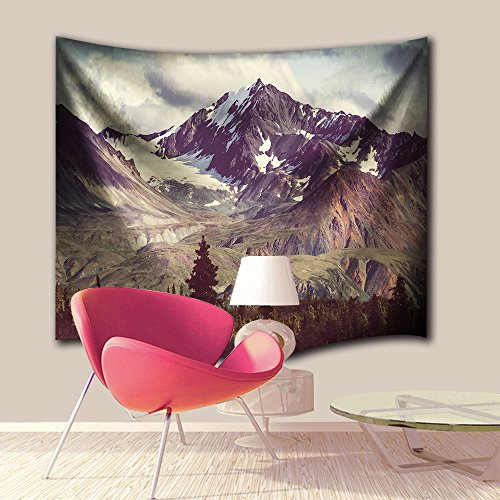 Mountains Tapestry Decor Collection,Winter Season White Snowy Forest Trees Extra Large Wall Hanging Tapestry Bedspread Dorm Accessories Decor Beach Throw (90 X 60 Inch, Alaska Wilderness Mountains) ()