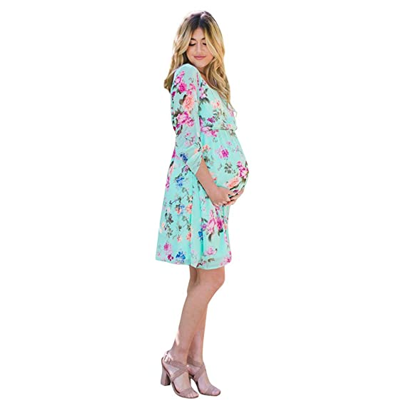 7424a541bd0f Cinnamou Vestidos Premamá Estampado Flores, Mujer Ropa de Gasa Embarazadas  Vestido de Maternidad en Manga