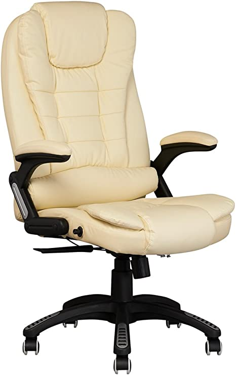 LIFE CARVER EXECUTIVE OFFICE CHAIR PADDED LEATHER HIGH BACK OFFICE CHAIR GAMING CHAIR STUDY CHAIR BUCKET CHAIR ERGONOMIC CHAIR (CREAM)