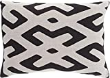 13'' x 19'' Tribal Rhythm Ink Black and Mist Gray Decorative Throw Pillow-Down Filler