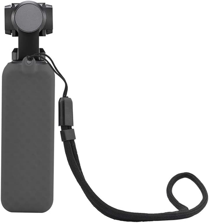Black TANGON Soft Silicone Non-Slip Protective Case with Lanyard Shell Skin Box Compatible for DJI Osmo Pocket Accessories Protector Shock Proof Silicone Cover with Neck Strap