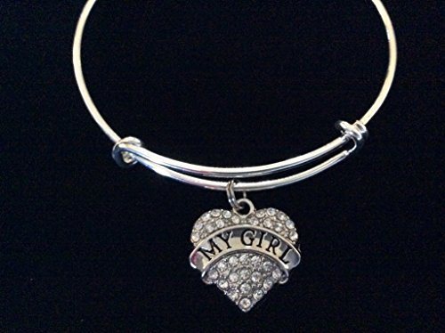 My Girl Crystal Heart Adjustable Bracelet Expandable Charm Silver Wire Bangle Wife Daughter Girlfriend Gift Rhinestone Bling Bracelet Personalization Options Available