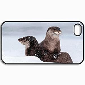 Personalized Protective Hardshell Back Hardcover For iPhone 4/4S, Sea Otters Design In Black Case Color