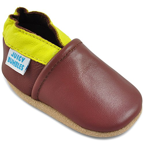 Toddler Shoes - Soft Leather Toddler Boy Shoes with Suede Soles Brown and Yellow