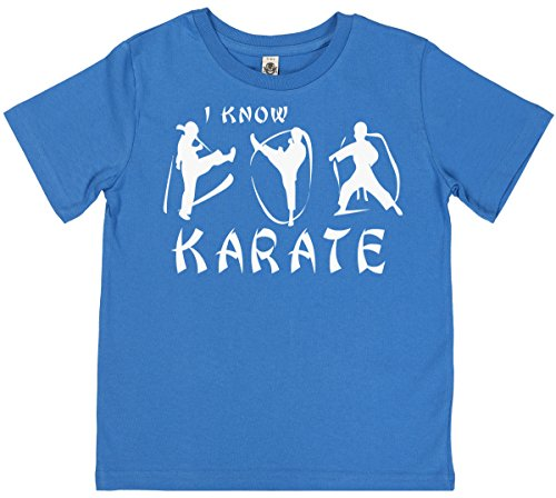 Phunky Buddha - I Know Karate Unisex Children's T-Shirt 7-8 yrs - Blue