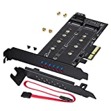 Rivo Dual M.2 SATA III and M2 NVME to PCIe 3.0 X4 Adapter Card - Add M.2 SSD Devices to PC or Motherboard, Supports 1 M.2 SATA III (B Key) SSD and Second M.2 PCIe 3.0 SSD (M-Key) (BLACK1)