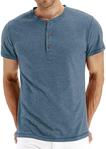 El Sr. Zhang de los hombres Casual Slim Fit Manga Corta Henley Camisetas Algodón Camisas