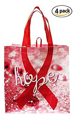 Earthwise Reusable Grocery Bag Shopping Totes Pink Breast Cancer Awareness HOPE Print ( Set of 4 )