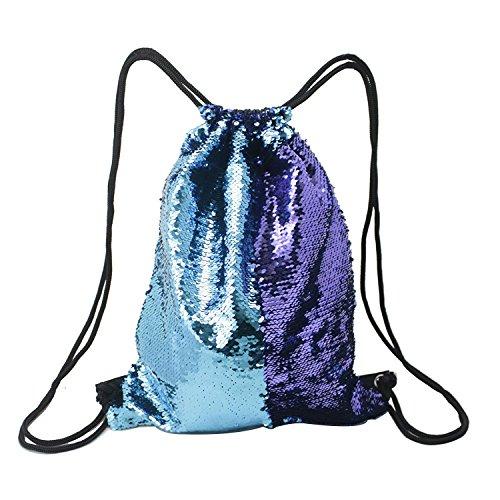Donsane Mermaid Bag Reversible Sequin Drawstring Backpack Outdoor Dance Sport Cinch Bag,Blue/Purple