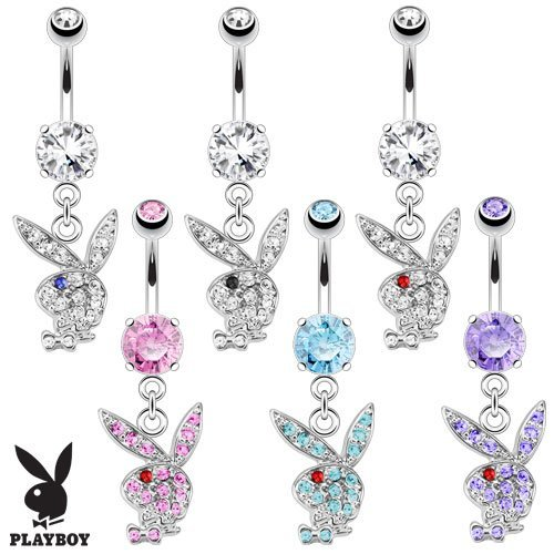 Tanzanite and Red Crystal Encrusted Official Licensed Playboy Dangle Bunny Head Belly Bar Piercing Thickness : 1.6mm Length : 10mm Material : Surgical Steel ()