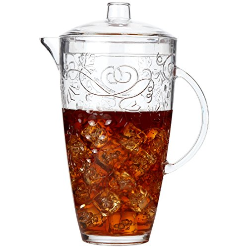 Lily's Home Break-Resistant Plastic Pitcher with Lid, Food-Safe and BPA-Free, Elegant and Ideal for Indoor or Outdoor Use for Lemonade, Iced Tea, Grapes and Vines Design (78 oz. Capacity) from Lily's Home