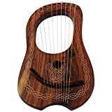 Brand New Lyre Harp 10 String Rose wood with Carrying Case and Tuning Key