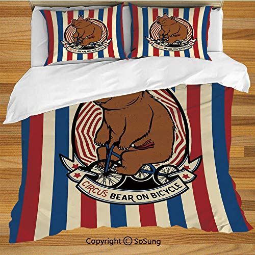 - Bear Queen Size Bedding Duvet Cover Set,Circus Bear on Bicycle Carnival Theme Cute Mascot with Hat on Striped Backdrop Decorative Decorative 3 Piece Bedding Set with 2 Pillow Shams,Ruby Blue Brown