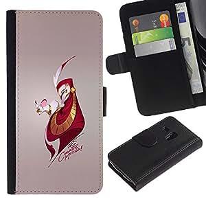 Protector de cuero de la PU de la cubierta del estilo de la carpeta del tirón BY RAYDREAMMM - Samsung Galaxy S3 MINI 8190 - Ratón y Hombre