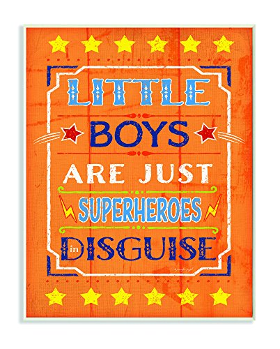 (The Kids Room by Stupell Little Boys are Just Superheroes in Disguise Textual Art Wall Plaque, 11 x 0.5 x 15, Proudly Made in)