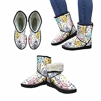 InterestPrint Women's Snow Boots Easter Pattern With Ornamental Eggs, Easter Holiday colorful Design Art Print Deco Unique Designed Comfort Winter Boots