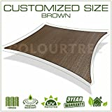 ColourTree Customized Size Order To Make Sun Shade Sail Canopy Mesh Fabric UV Block Square - Commercial Standard Heavy Duty - 160 GSM - 4 Years Warranty (12' x 12', Brown)