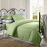 1800 Series Damask Stripe Duvet Cover 3PC Set With Pillow Shams/Sage/Full/Queen