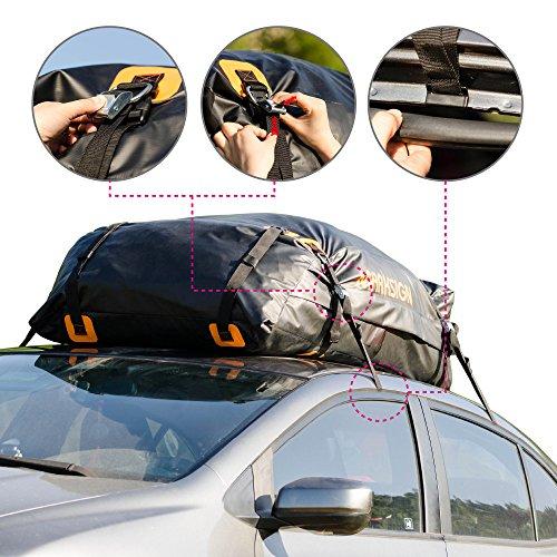 MARKSIGN 100 Waterproof Car Rooftop Cargo Carrier Bag 145 Cu Ft Zipper And Rain Flap
