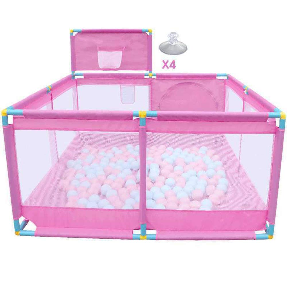 A 128x128x66cm ZHANWEI Baby Playpen Kids Anti-Fall Guard Bar Infant Play Fence with Backboard  - Pink (color   B, Size   128x128x66cm)