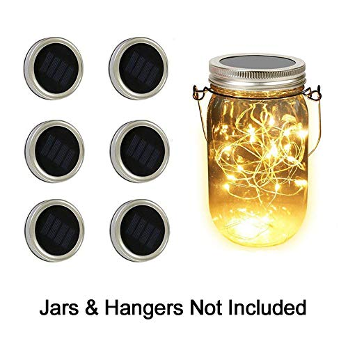 Solar Mason Jar Lights - Adecorty Solar String Lights 6 Pack 20 LED Warm White Solar Jar Lights for Patio Yard Garden Decor, Fairy String Lights Fit for Regular Mouth -