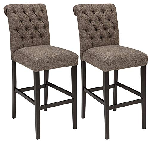 Signature Design By Ashley - Tripton Tall Upholstered Barstool - Set of 2 - Casual Style - Medium Brown (Stools Bar Luxury)